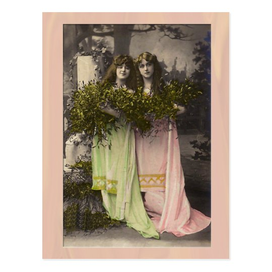 Victorian ladies with flowers in the cemetery postcard
