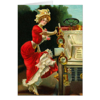 Victorian Lady and Her Automobile Card