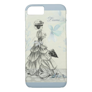 Victorian Lady Bustle Parasol Powder Blue iPhone 7 iPhone 8/7 Case