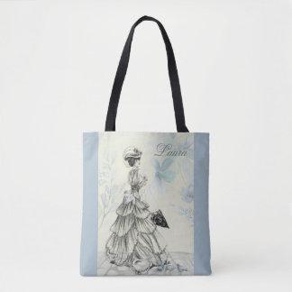Victorian Lady Bustle Parasol Powder Blue Tote Bag