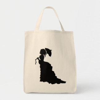 Victorian Lady Cameo Silhouette Grocery Tote Bag