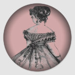 Victorian Lady Fade to Black Round Stickers