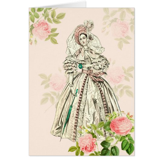 Victorian lady greeting card 19th century fashion