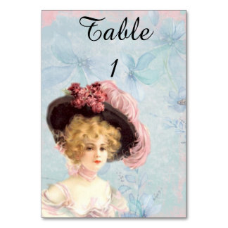 Victorian Lady in Feathered Hat Tablecard Table Cards
