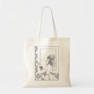 Victorian Lady Line Illustration Tote Bag