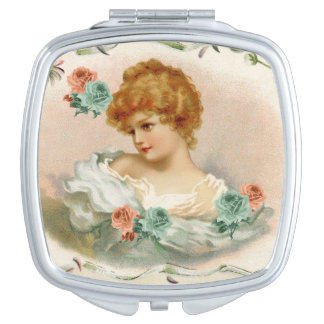 Victorian Lady Peach & Green Roses Compact Mirror
