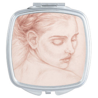 Victorian Lady Portrait Drawing Compact Mirror
