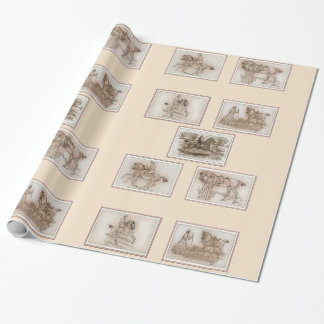 Victorian Lady Riding Side Saddle Wrapping Paper