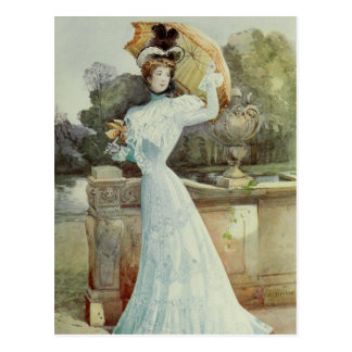 Victorian Lady–Vintage French Fashion–Aqua Dress Postcard
