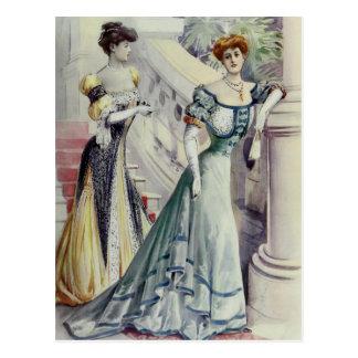 Victorian Lady – Vintage French Fashion–Blue Dress Postcard