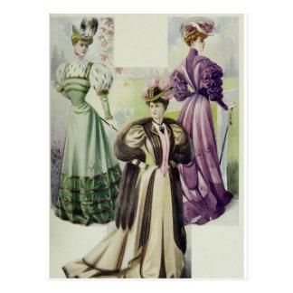 Victorian Lady –Vintage French Fashion-Brown Dress Postcard
