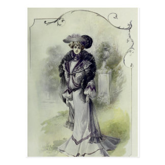 Victorian Lady–Vintage French Fashion–Gray Dress Postcard