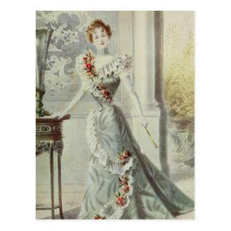 Victorian Lady – Vintage French Fashion–Gray Dress Postcard