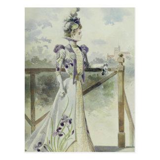 Victorian Lady – Vintage French Fashion –Lavender Postcard