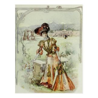 Victorian Lady–Vintage French Fashion–Orange Dress Postcard