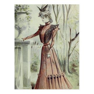 Victorian Lady–Vintage French Fashion–Peach Dress Postcard