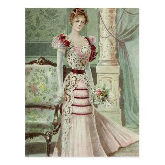 Victorian Lady–Vintage French Fashion –Pink Dress Postcard