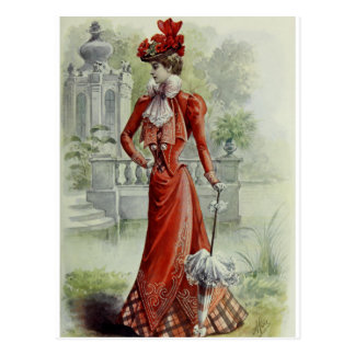 Victorian Lady – Vintage French Fashion – Red Dres Postcard