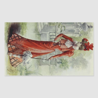 Victorian Lady – Vintage French Fashion – Red Dres Rectangular Sticker