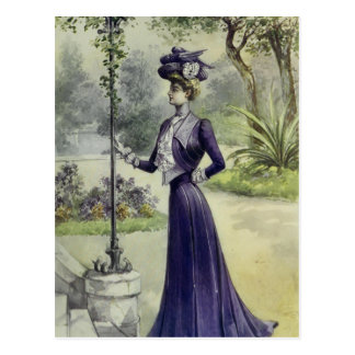 Victorian Lady–Vintage French Fashion–Violet Dress Postcard