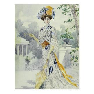 Victorian Lady–Vintage French Fashion–White Dress Postcard