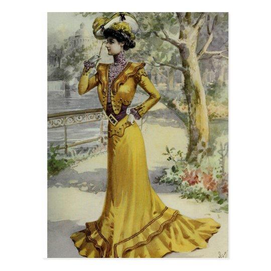 Victorian Lady–Vintage French Fashion–Yellow Dress Postcard