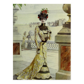 Victorian Lady–Vintage French Fashion-Yellow Dress Postcard