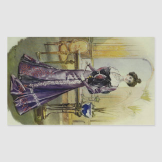 Victorian Lady–Vintage French Fashion–Yellow Dress Rectangular Sticker