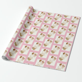 Victorian Lady w/Dog & Pink Roses Wrapping Paper
