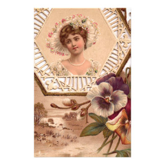 Victorian Lady With Hat Custom Stationery