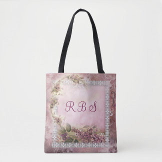 Victorian Lilacs w White Lace Frame lavender pink Tote Bag