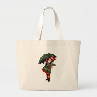 Victorian Little Girl with Umbrella Tote Bags