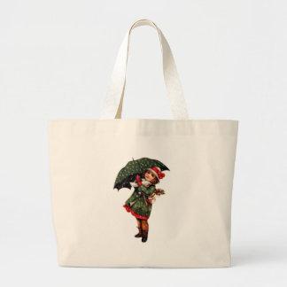 Victorian Little Girl with Umbrella Jumbo Tote Bag