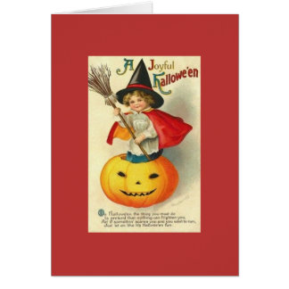 Victorian Little Witch Hallowe'en Greeting Card