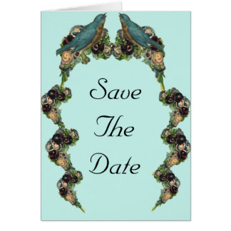 Victorian Love Birds Save the Date Invitation Note Card