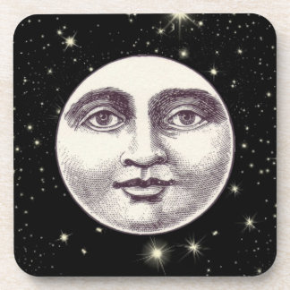 Victorian man in the moon coaster