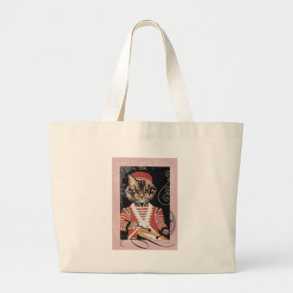 Victorian Marching Cat Drummer Boy Drum Large Tote Bag