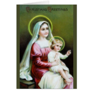 Victorian Mary and Baby Jesus Christmas Card