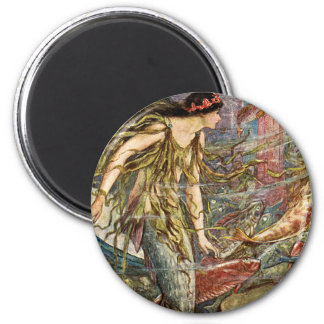 Victorian Mermaid Art by H J Ford 6 Cm Round Magnet