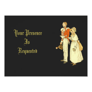 Victorian Military Officer and Lady 14 Cm X 19 Cm Invitation Card