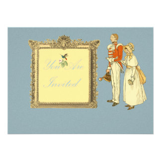 Victorian Military Officer and Lady Custom Invite
