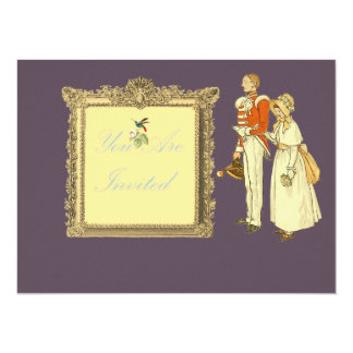 Victorian Military Officer and Lady 5.5x7.5 Paper Invitation Card