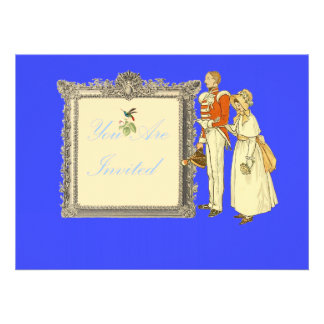 Victorian Military Officer and Lady Custom Invitation