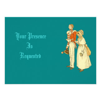 Victorian Military Officer and Lady Personalized Announcement