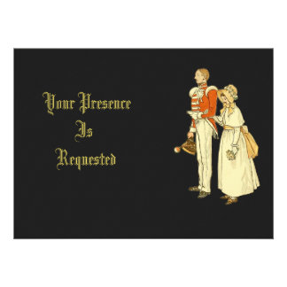 Victorian Military Officer and Lady Personalized Announcements
