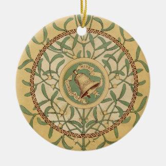 Victorian Mistletoe Round Ceramic Decoration