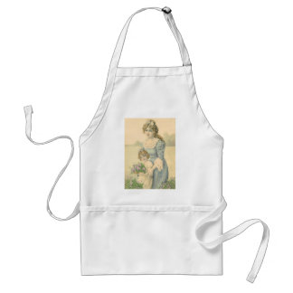 Victorian Mom Daughter Picking Flowers Mother'sDay Adult Apron