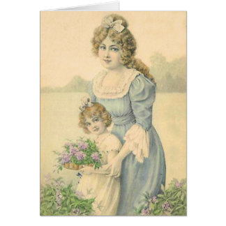 Victorian Mom Daughter Picking Flowers Mother'sDay Greeting Card