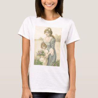 Victorian Mom Daughter Picking Flowers Mother'sDay T-Shirt