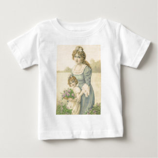Victorian Mom Daughter Picking Flowers Mother'sDay Tshirt